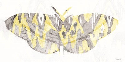 Yellow-Gray Patterned Moth 1 art print by Stellar Design Studio for $42.50 CAD
