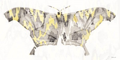 Yellow-Gray Patterned Moth 2 art print by Stellar Design Studio for $42.50 CAD