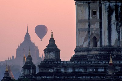 Hot Air balloon over the temple complex of Pagan at dawn, Burma art print by Brian McGilloway / Danita Delimont for $90.00 CAD