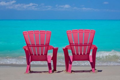 Bahamas, Little Exuma Island Pink Chairs On Beach art print by Jaynes Gallery / Danita Delimont for $42.50 CAD