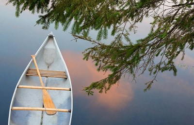 Canada, Quebec, Eastman Canoe On Lake At Sunset art print by Jaynes Gallery / Danita Delimont for $67.50 CAD
