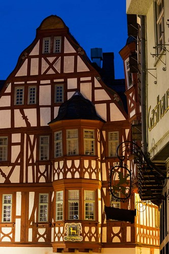 Germany, Hesse, Limburg An Der Lahn, Half-Timbered Building, Dawn art print by Walter Bibikow for $42.50 CAD