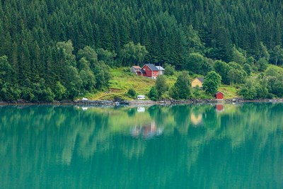 Wooden Farmhouses Architecture Olden Norway art print by Tom Norring / Danita Delimont for $42.50 CAD