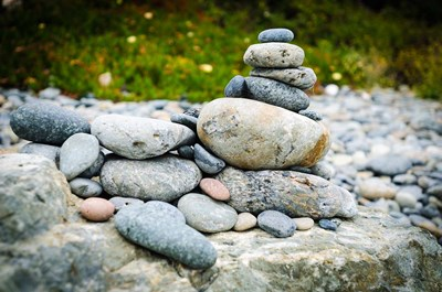 Stacked Rocks On Sand Dollar Beach art print by Russ Bishop / DanitaDelimont for $68.75 CAD
