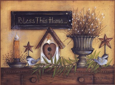 Bless This Home (shelf) art print by Mary Ann June for $20.00 CAD