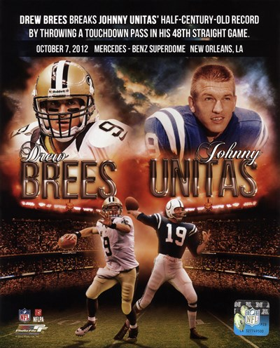 Drew Brees breaks Johnny Unitas' half-century-old record October 7, 2012 art print by Unknown for $21.25 CAD