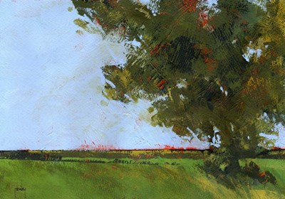 Autumn Oak and Empty Fields art print by Paul Bailey for $63.75 CAD