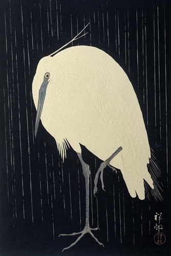 Egret in the Rain, 1925-1936 art print by Ohara Koson for $43.75 CAD