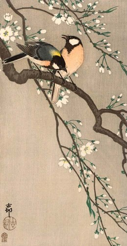 Songbirds on Cherry Branch, 1900-1910 art print by Ohara Koson for $51.25 CAD