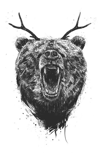 Angry Bear With Antlers art print by Balazs Solti for $43.75 CAD