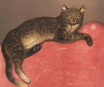 Cat on a Cushion art print by Theophile-Alexandre Steinlen for $50.00 CAD