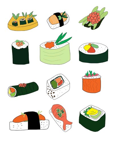 Sushi Set art print by Jan Weiss for $40.00 CAD