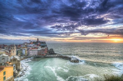 Sunset over Vernazza Fishing Village Italy art print by Nick Jackson for $43.75 CAD