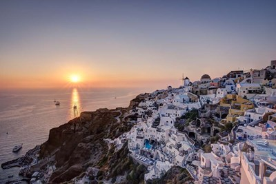 Ship Sailing into the Sunset in Oia Greece art print by Nick Jackson for $43.75 CAD