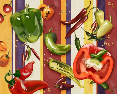 Sarape Peppers II art print by Jade Reynolds for $53.75 CAD