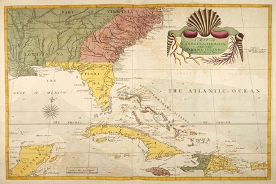 Map of Carolina, Florida & the Bahama Islands art print by Marc Catesby for $60.00 CAD
