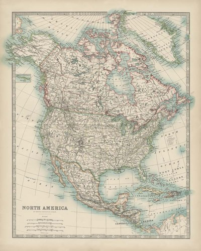 Map of North America art print by Walt Johnston for $53.75 CAD