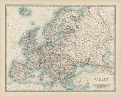 Map of Europe art print by Walt Johnston for $53.75 CAD