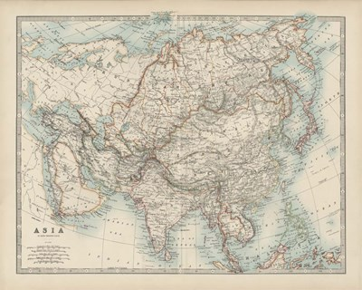 Map of Asia art print by Walt Johnston for $53.75 CAD