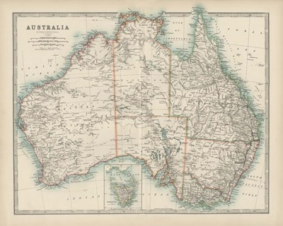 Map of Australia art print by Walt Johnston for $53.75 CAD
