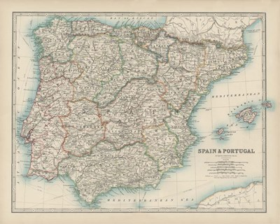 Map of Spain & Portugal art print by Walt Johnston for $53.75 CAD
