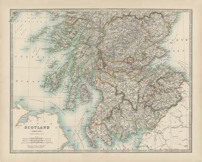 Map of Scotland art print by Walt Johnston for $53.75 CAD