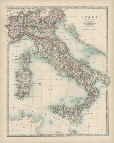 Map of Italy art print by Walt Johnston for $53.75 CAD
