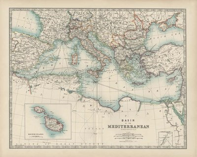 Map of the Mediterranean art print by Walt Johnston for $53.75 CAD