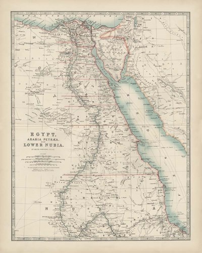 Map of Egypt art print by Walt Johnston for $53.75 CAD