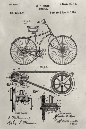 Patent--Bicycle art print by Alicia Ludwig for $42.50 CAD