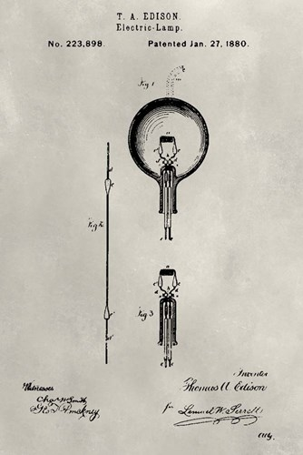 Patent--Light Bulb art print by Alicia Ludwig for $42.50 CAD