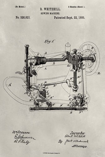 Patent--Sewing Machine art print by Alicia Ludwig for $42.50 CAD
