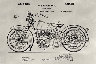 Patent--Motorcycle art print by Alicia Ludwig for $42.50 CAD