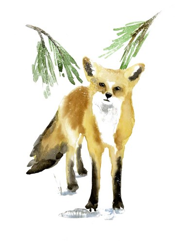 Snowy Fox II art print by Annie Warren for $38.75 CAD