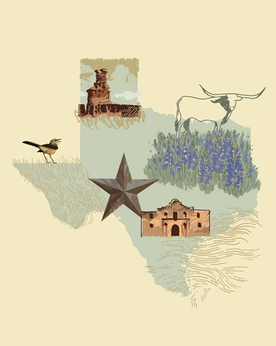 Illustrated State-Texas art print by Jacob Green for $53.75 CAD