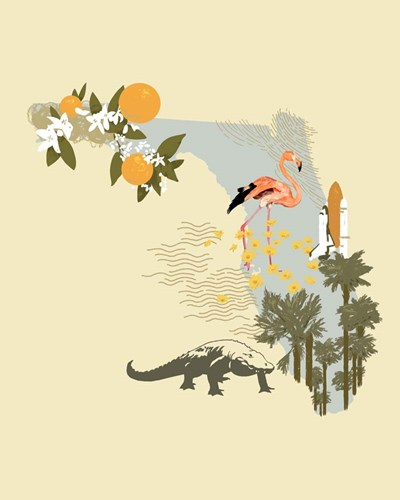 Illustrated State-Florida art print by Jacob Green for $53.75 CAD