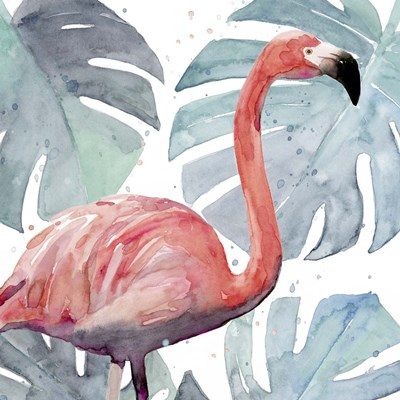 Flamingo Splash I art print by Annie Warren for $53.75 CAD