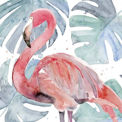 Flamingo Splash II art print by Annie Warren for $53.75 CAD