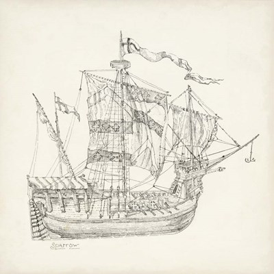 Antique Ship Sketch VIII art print by Richard Foust for $112.50 CAD