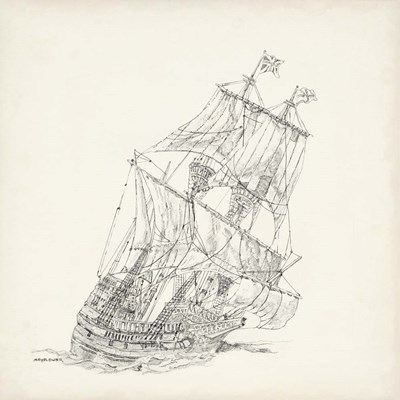 Antique Ship Sketch XI art print by Richard Foust for $112.50 CAD