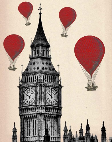 Big Ben and Red Hot Air Balloons art print by Fab Funky for $38.75 CAD