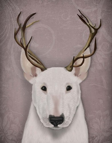 Bull Terrier and Antlers art print by Fab Funky for $33.75 CAD