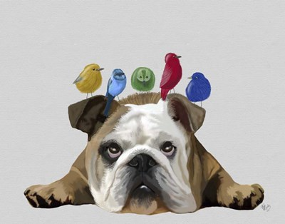 English Bulldog and Birds art print by Fab Funky for $33.75 CAD