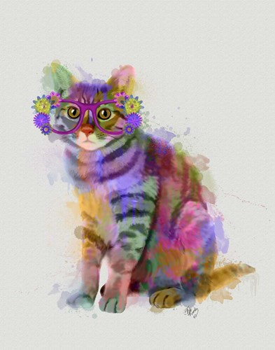 Cat Rainbow Splash 7 art print by Fab Funky for $33.75 CAD