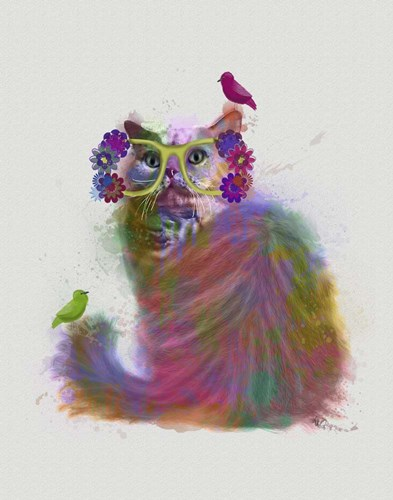 Cat Rainbow Splash 9 art print by Fab Funky for $33.75 CAD