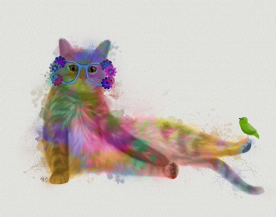 Cat Rainbow Splash 10 art print by Fab Funky for $33.75 CAD