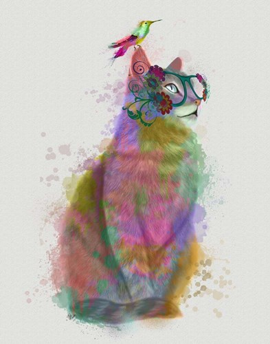 Cat Rainbow Splash 11 art print by Fab Funky for $33.75 CAD