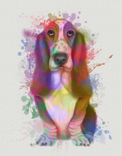 Basset Hound Rainbow Splash art print by Fab Funky for $33.75 CAD