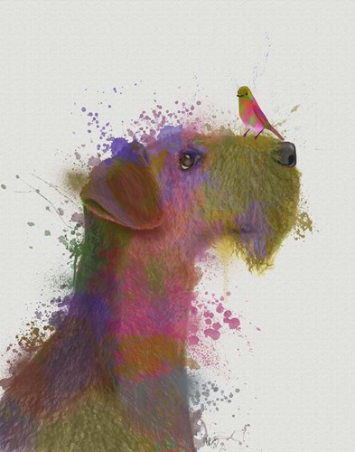 Airdale and Canary Rainbow Splash art print by Fab Funky for $33.75 CAD