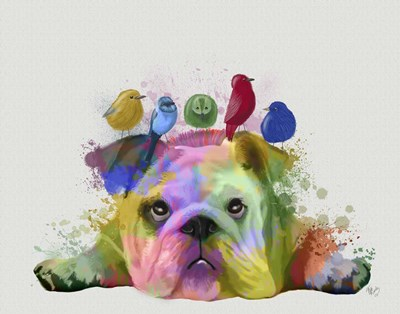 English Bulldog and Birds, Rainbow Splash art print by Fab Funky for $33.75 CAD
